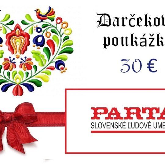 Darčeková poukážka na nákupy v našom obchode | PARTA